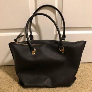 Black Zip Top Tote Bag